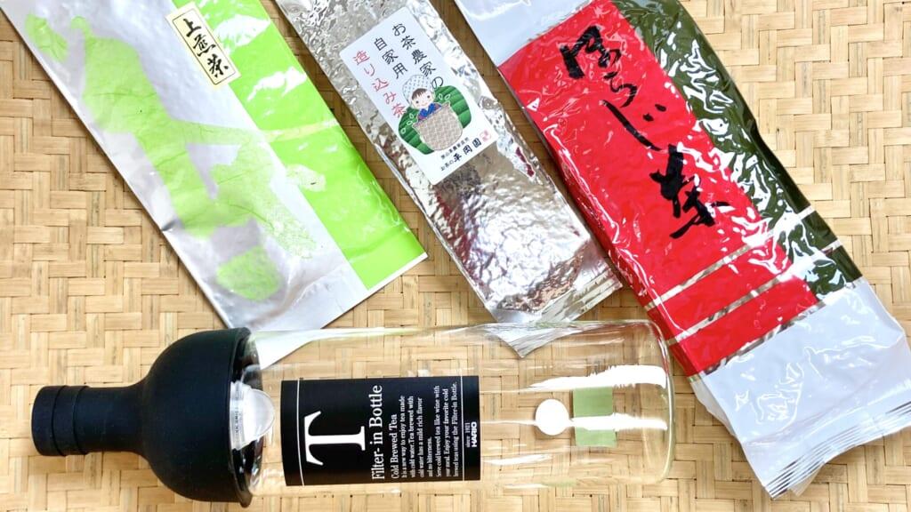 フィルターインボトルと緑茶3種飲み比べセット写真